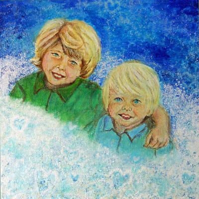 Avery And Atley Angels Of Brotherly Love Print by The Art With A Heart By Charlotte Phillips