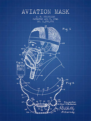 Aviation Mask Patent From 1946 - Blueprint Print by Aged Pixel