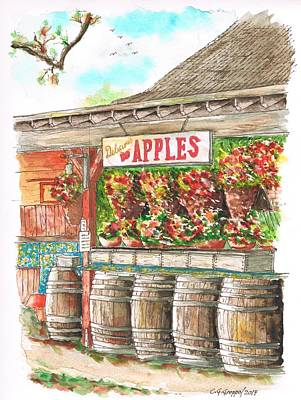 Barrel Painting - Avila Valley Barn With Delicious Apples Sign In Avila Beach - California by Carlos G Groppa