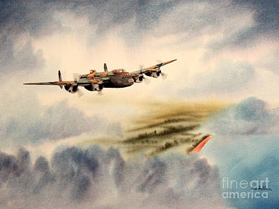 Avro Lancaster Over England Print by Bill Holkham