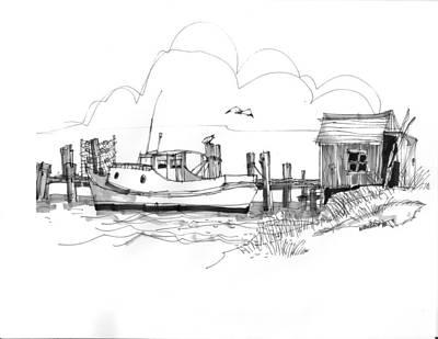 North Carolina Drawing - Awaiting Bluefish Run Ocracoke Nc 1970s by Richard Wambach