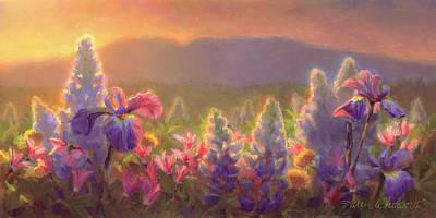 Sunrise Oil Painting - Awakening - Mt Susitna Spring - Sleeping Lady by Karen Whitworth
