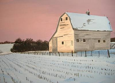 Snowscape Painting - Award-winning Original Acrylic Painting - Nebraska Barn by Norm Starks