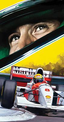 Helmet Mixed Media - Ayrton Senna Artwork by Sheraz A
