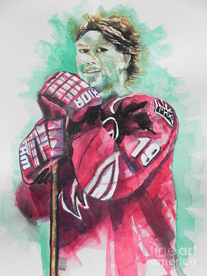 Abstract Coyote Painting - Az Coyotes ...hockey Player Shane Doan by Chrisann Ellis