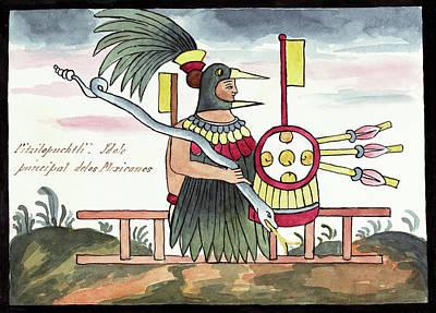 Aztec Deity Huitzilopochtli Print by Library Of Congress