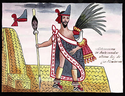 Aztec Emperor Moctezuma II Print by Library Of Congress
