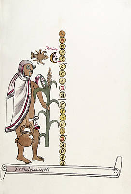 Water Vessels Photograph - Aztec Month Etzalcualiztli by Library Of Congress