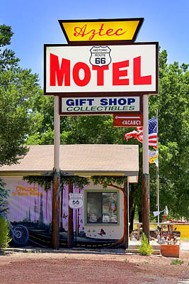 Motel Digital Art - Aztec Motel -  Seligman by Mike McGlothlen