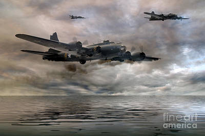 B-17 Flying Fortress  Almost Home Print by Steve H Clark Photography