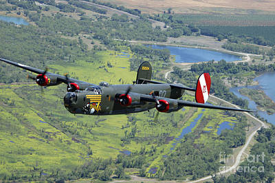 Us Army Fighters Photograph - B-24 Liberator Flying Over Mt. Lassen by Phil Wallick