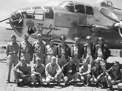 B-25 Bomber And Crew Print by Underwood Archives