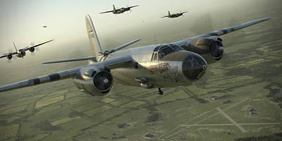 B Digital Art - B-26 Feudin Wagin by Robert Perry