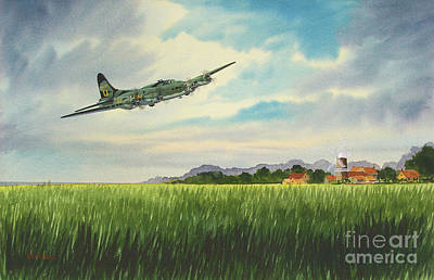 Usaf Painting - B17 Over Norfolk England by Bill Holkham