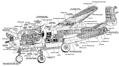 B25 Photograph - B25 Mitchell Schematic Diagram by John King