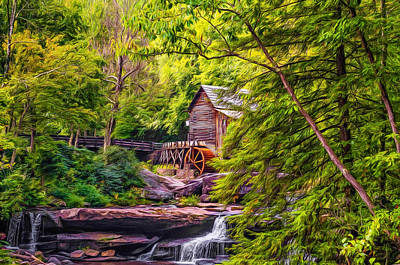 Grist Mill Digital Art - Babcock State Park Wv - Paint by Steve Harrington