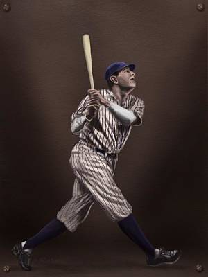 Mlb Hall Of Fame Drawing - Babe Ruth by Jeremy Nash