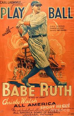 Babe Ruth Drawing - Babe Ruth - Play Ball by Roberto Prusso