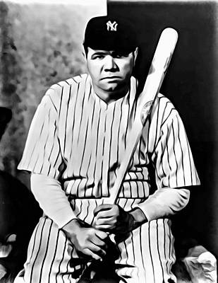 Babe Ruth Vintage Photograph - Babe Ruth Portrait Painting by Florian Rodarte