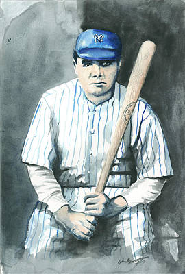 Babe Ruth Painting - Babe Ruth Watercolor 1 by Kyle Gray