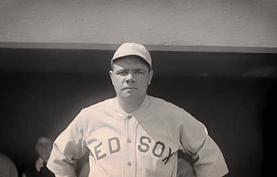 Babe Ruth Vintage Photograph - Babe Ruth With The Sox by Mountain Dreams