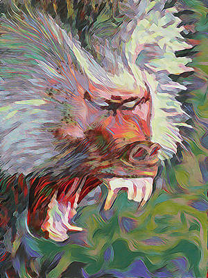 Chimpanzee Mixed Media - Baboon by Gusse