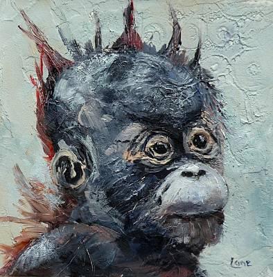 Orangutan Mixed Media - Baby A An Orangutan by Saundra Lane Galloway