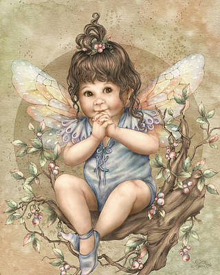 Little Girl Mixed Media - Baby Berry Fairy by Beverly Levi-Parker