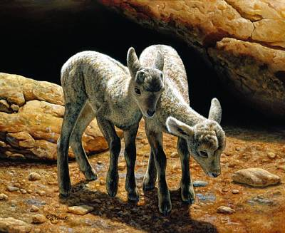Bighorn Painting - Baby Bighorns by Crista Forest