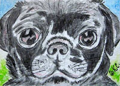 Baby Black Pug Print by Kathy Marrs Chandler