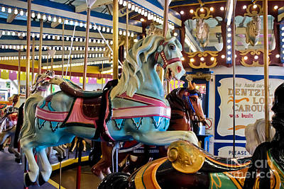 Antique Carousel Photograph - Baby Blue Painted Pony - Carousel by Colleen Kammerer