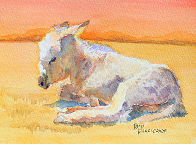 Donkey Watercolor Painting - Baby Burro's Nap Time by Deb  Harclerode