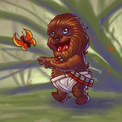 Chewbacca Painting - Baby Chewy  by Anthony Mata