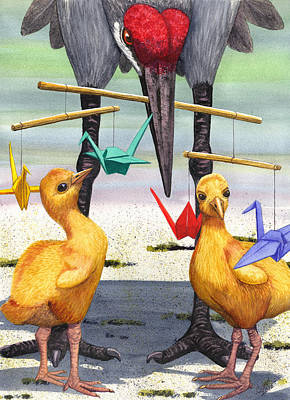 Crane Painting - Baby Cranes by Catherine G McElroy