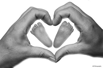 Baby Feet In Mothers Hand Print by Jay Harrison