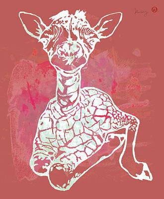 Camel Mixed Media - Baby Giraffe -  Pop Modern Etching Art Poster by Kim Wang