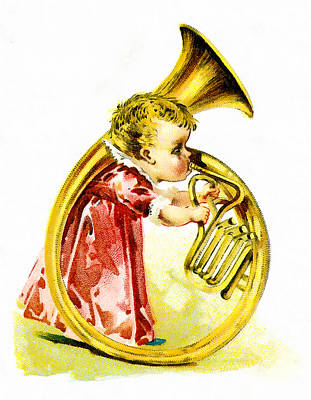 Girl With A Pink Dress Digital Art - Baby Girl With A French Horn by Vintage Trading Cards