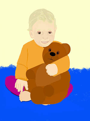 Of Toddlers Painting - Baby Holding Teddy Bear by Pharris Art