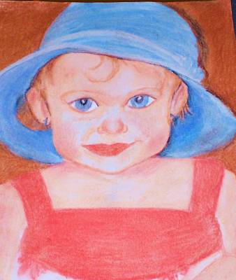 Baby In Blue Hat Print by Christy Saunders Church
