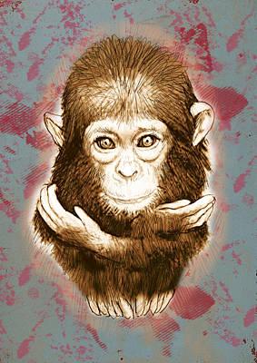 Ape Mixed Media - Baby Monkey - Stylised Drawing Art Poster by Kim Wang