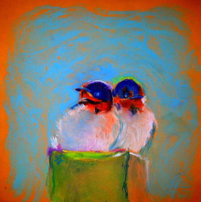 Swallow Chicks Painting - Baby Swallows by Sue Jacobi