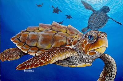 Scuba Painting - Baby Turtles by Lina Tricocci