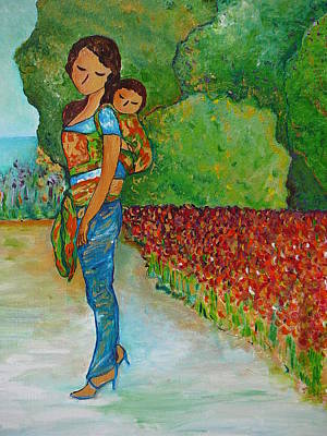 Mums Painting - Baby Wearing In The Green by Gioia Albano