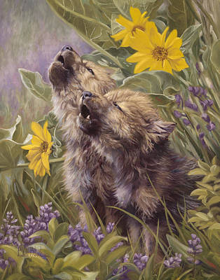 Grey Painting - Baby Wolves Howling by Lucie Bilodeau