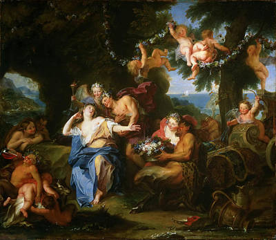 Bacchus And Ariadne On The Isle Of Naxos Print by Antoine Coypel