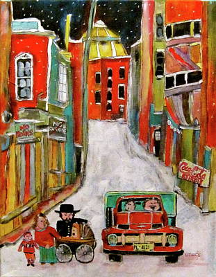 Litvack Naive Painting - Back Lane Cultures by Michael Litvack