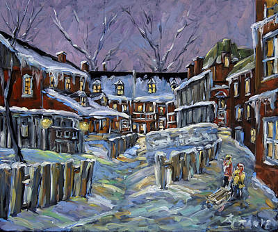 Quebec Streets Painting - Back Lanes Buddies By Prankearts by Richard T Pranke