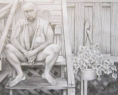 Homoerotic Drawing - Back Porch by Michael Flynt