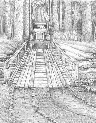 Dirt Roads Drawing - Back Road Bridge by David Gallagher