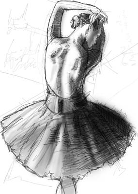Tutus Drawing - Back Study by H James Hoff